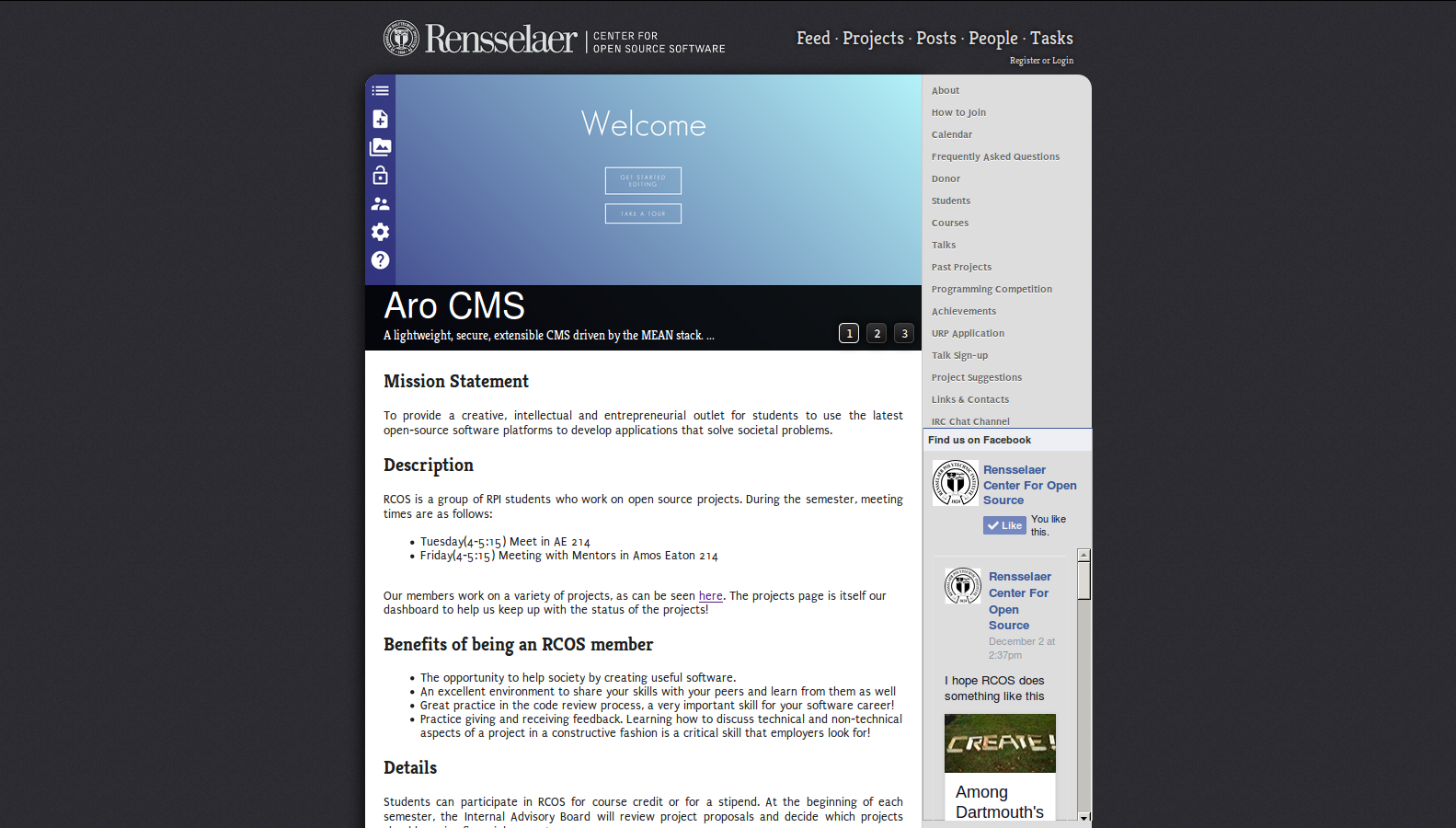 Screenshot of the RCOS homepage.